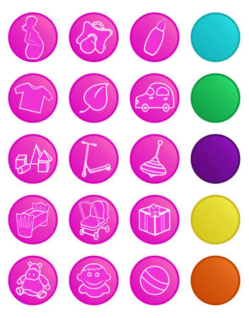 Vector icons for baby shop. Icons with bottom layer variants Vector