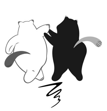 corpulent: Two merry cats walk together. Vector sketch Illustration