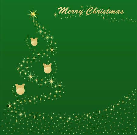 Vector illustration Christmas postcard. Christmas tree lights Vector
