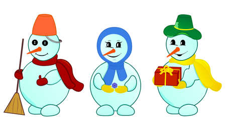 Cheerful snowmen family with gift. Object isolated, set vector illustration Vector