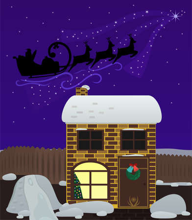sprightly: Christmas night. Santa Claus flies by night sky over the house. Christmas background. Large objects in separate layers