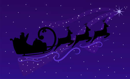 Santa Claus and Christmas reindeers flying on night sky. Christmas background with silhouette Santa (vector and raster)  Vector