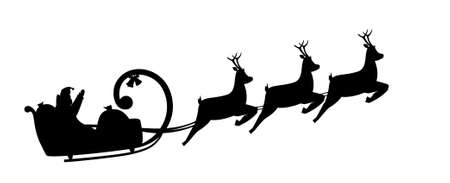 sprightly: Vector illustration silhouette Santa Claus drives in a sleigh Illustration