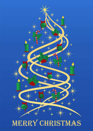 Stylized Christmas tree with golden stars, Christmas tree decorations on blue background. Vector illustration Christmas card Vector