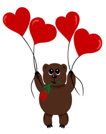 Bear in love with flower flying on air-balloons attached to string  Vector