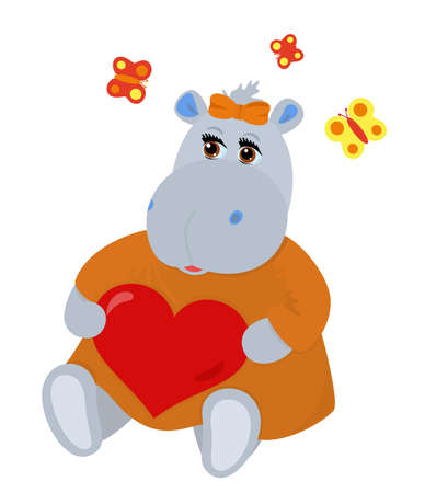 flit: Hippo-girl in love holding heart in hands, butterflies flit over she Illustration