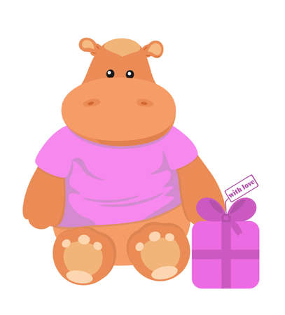 Nice toy hippo with fancy box labelled  Vector