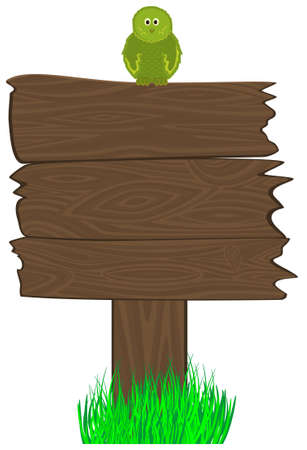 publicity: blank wooden billboard and bird on it. Place for your text, publicity, news item