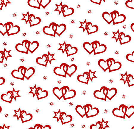 Red hearts and star elements on white background. Seamless vector illustration Stock Vector - 6200853