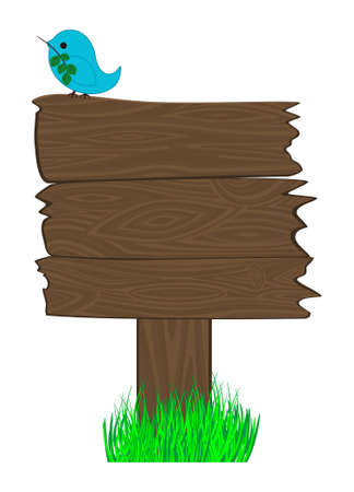 Wooden billboard and twitter bird on it. Good place for your text, publicity, notice Vector