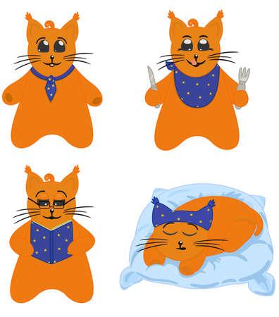 One cat character in various stories. Vector comics hero Vector