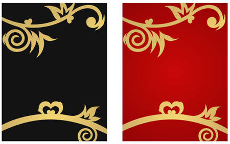 Two floral banners with gold hearts and free space for your text Vector
