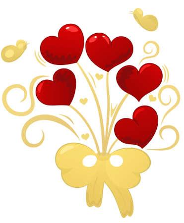 Golden bouquet red hearts, butterflies, element for design, vector illustration Stock Vector - 6251315