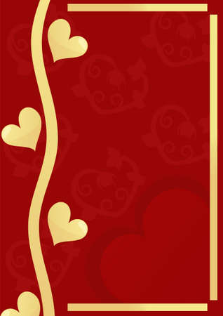 Beautiful red background with golden hearts, vector illustrations. The Valentines Day postcard Vector