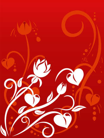 Valentines Day background with hearts, floral ornament, bud, element for design, vector illustration Vector