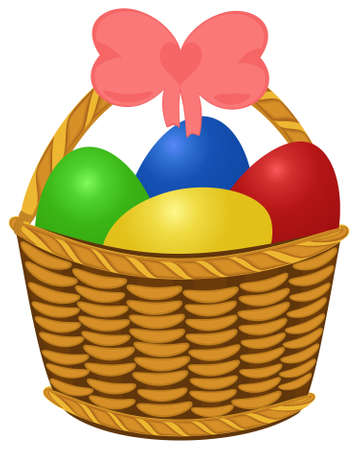 Wicker basket topfull colored Easter Eggs. Vector illustration object isolated Vector