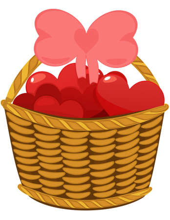 Wicker basket topfull hearts. Object isolated, vector illustration Vector