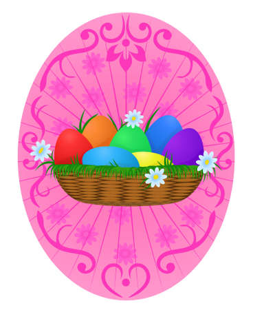 solemnize: Easter Eggs rainbow color in wicker basket with camomiles on festive rosy background