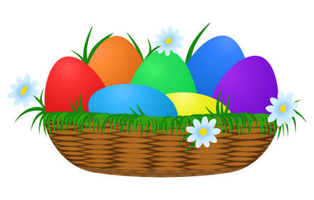 Rainbow Easter Eggs in wicker basket Vector