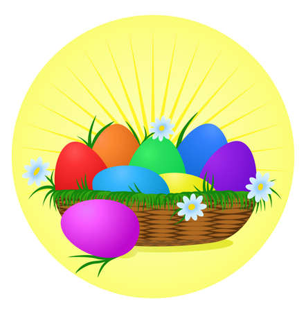 solemnize: Colorful Easter Eggs on sunny background. Holiday vector design