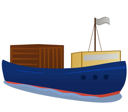 ship package: Cargo boat with heavy load. object isolated
