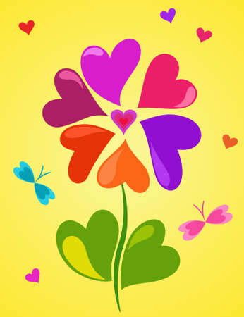 Cute floral composition of colorful hearts on yellow background Vector