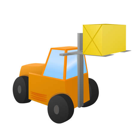 shipper: Forklift loader with big box.  object isolated Illustration