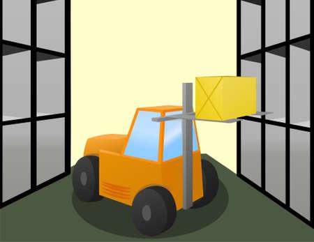 sala parto: Carrello elevatore caricatore mette la grande scatola sugli scaffali di archiviazione  Vettoriali