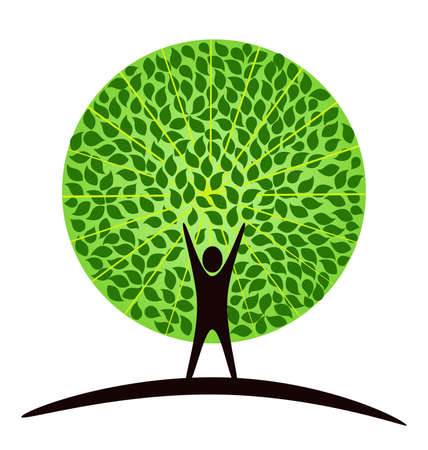 tree logo: Stylized tree with person in its basis. Illustration symbolizes the unity of Human and Nature