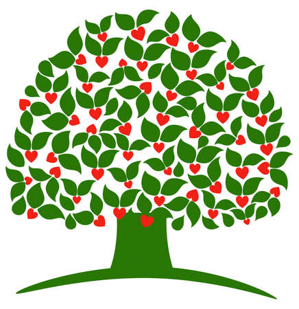 rich: Love tree. object isolated, variant of logo or sign