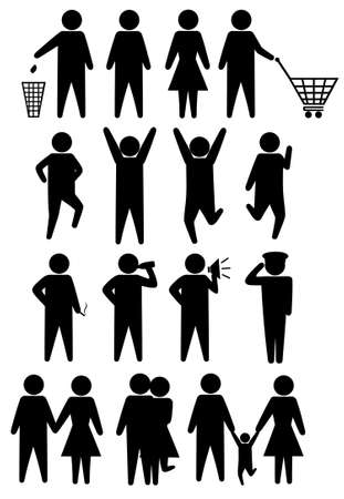 megaphone icon: Schematic icons set people. illustration object isolated