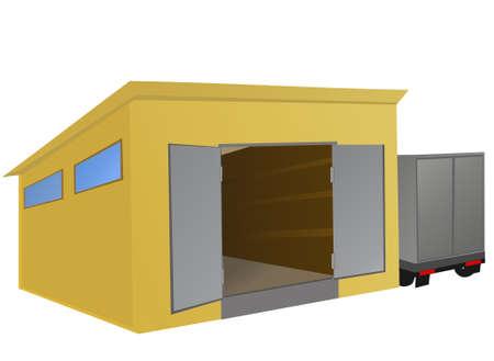 sala parto: Magazzino con un camion parcheggiato accanto.  illustrazione Vettoriali