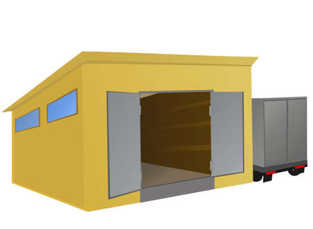 delivery room: Warehouse with a truck parked beside.  illustration