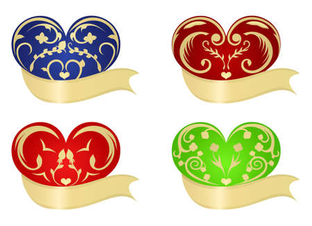 Set colorful herts, element for design. Use ribbon for You greetings on the Valentines Day Vector