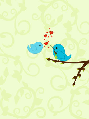love birds: Spring Valentines background with delicate design and birds in love
