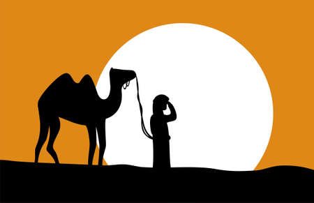 wanderer: A solitary wayfarer with camel in the middle of the desert. Vector illustration