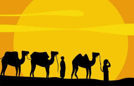 巡礼: ラクダのキャラバン灼熱の砂漠の砂の上に移動します。ベクトルの背景  イラスト・ベクター素材