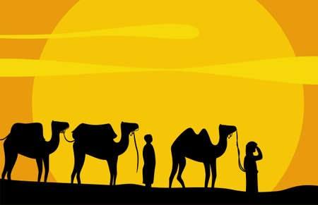 Caravan of camels move on scorching sand of Desert. Vector background
