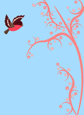 nimble: Cute little bird flying on pink branch of magical tree. Vector spring background