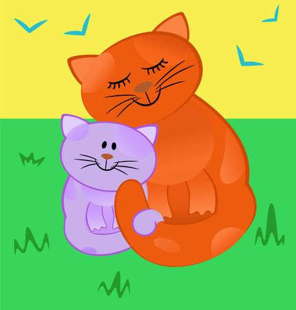 bondad: Gato de madre amorosamente abraza a su gatito