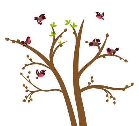 flink: Kleine V�gel zwitschern auf Baum Fr�hling. Vektor-illustration  Illustration
