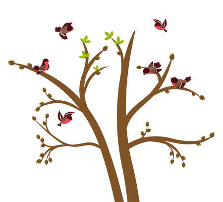 flit: Little birds chirp on spring tree. Vector illustration