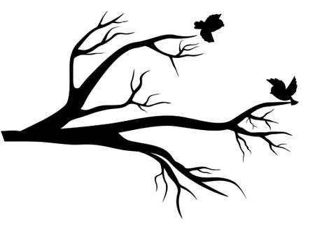 Principios de la primavera. Rama de árbol y aves alegres flitting acerca de ella