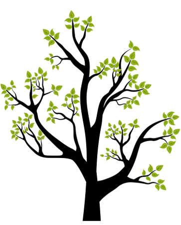 Árbol, la ilustración, el elemento para el diseño, la tarjeta o el emblema de la primavera Ilustración de vector