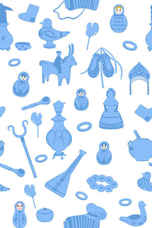 Background with Russian utensils. Seamless version Vector
