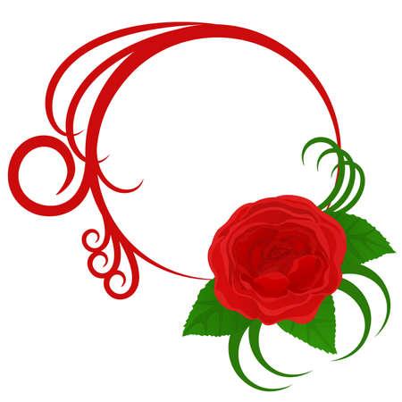 Marco de círculo con hermosa rosa y curvas. Ilustración vectorial