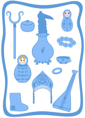 Russian traditional set utensils and object mode Vector