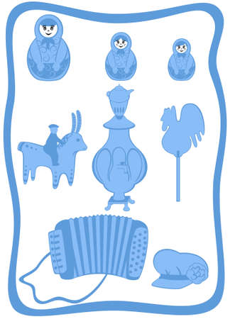 stuff toys: Russian traditional set of utensils and domestic articles