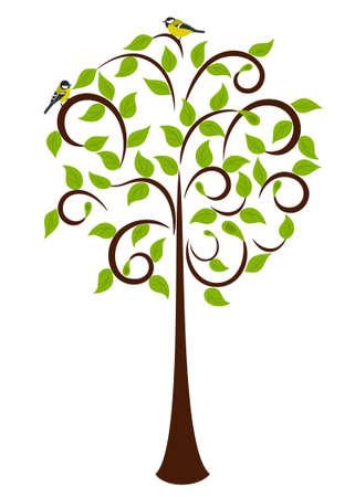 ¡rboles con pajaros: Árbol de primavera de Young y principio Pajarito en él Vectores
