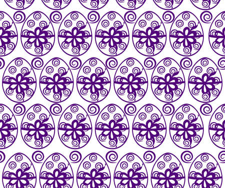 Seamless Background with Easter Eggs in purple color Vector